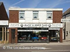 Black and White Cars Vintage Car Showroom